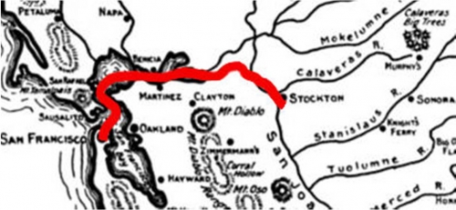 Map of route from San Francisco to Stockton