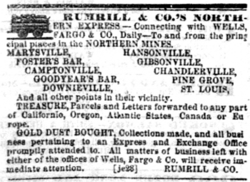 Sep 9, 1854 advertisement from the Sacramento Daily Union.