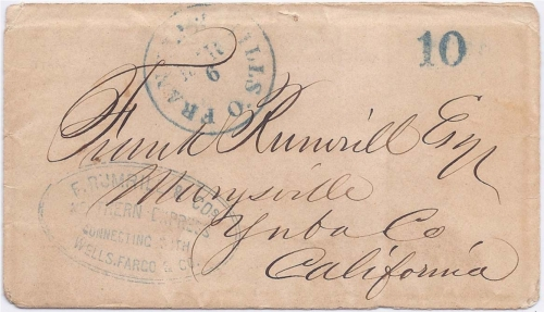 By post office Franklin Mills O. Mar 6 (1854) with 10 (collect) via New York and Panama to Marysville