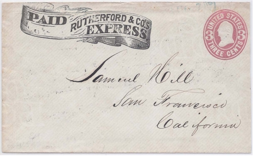 Rutherford & Co.'s Express in their printed frank envelope to Oroville