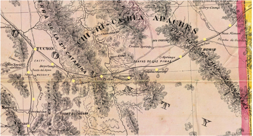 Territory of Arizona 1865 Postal Route