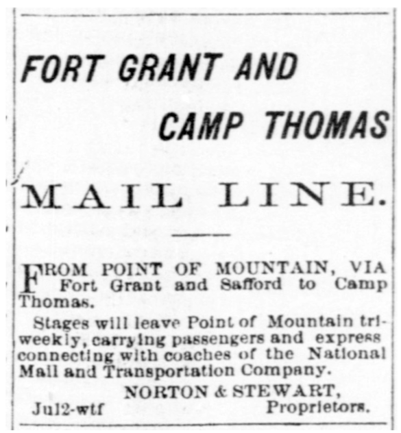 Fort Grant And Camp Thomas Mail Line