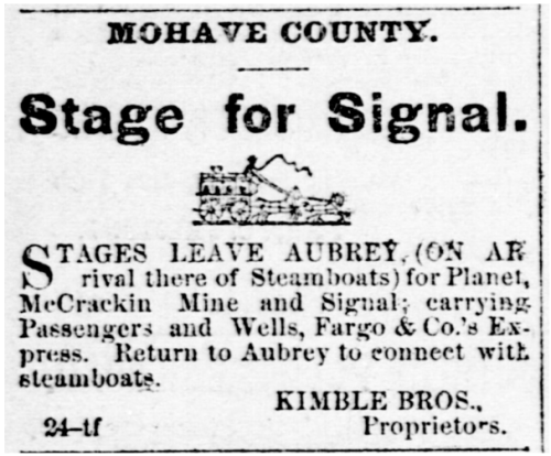 Arizona Sentinel Newspaper (Yuma) Advertisement November 2, 1878