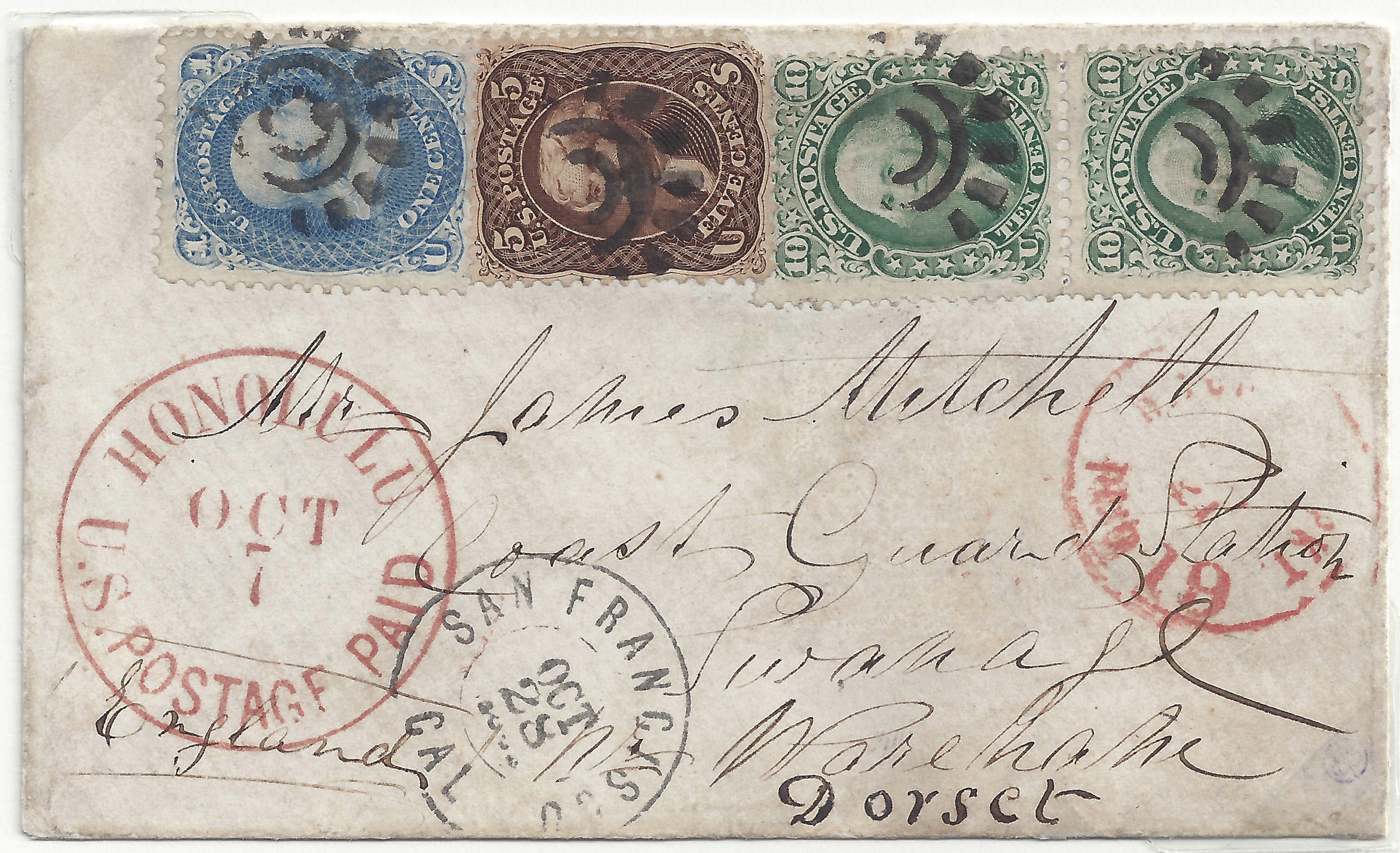 Suburban 20140425 5 23 Honolulu Oct 7 1865 26c Paying 2c Ship Fee + 24c To England (63 68x2 76)