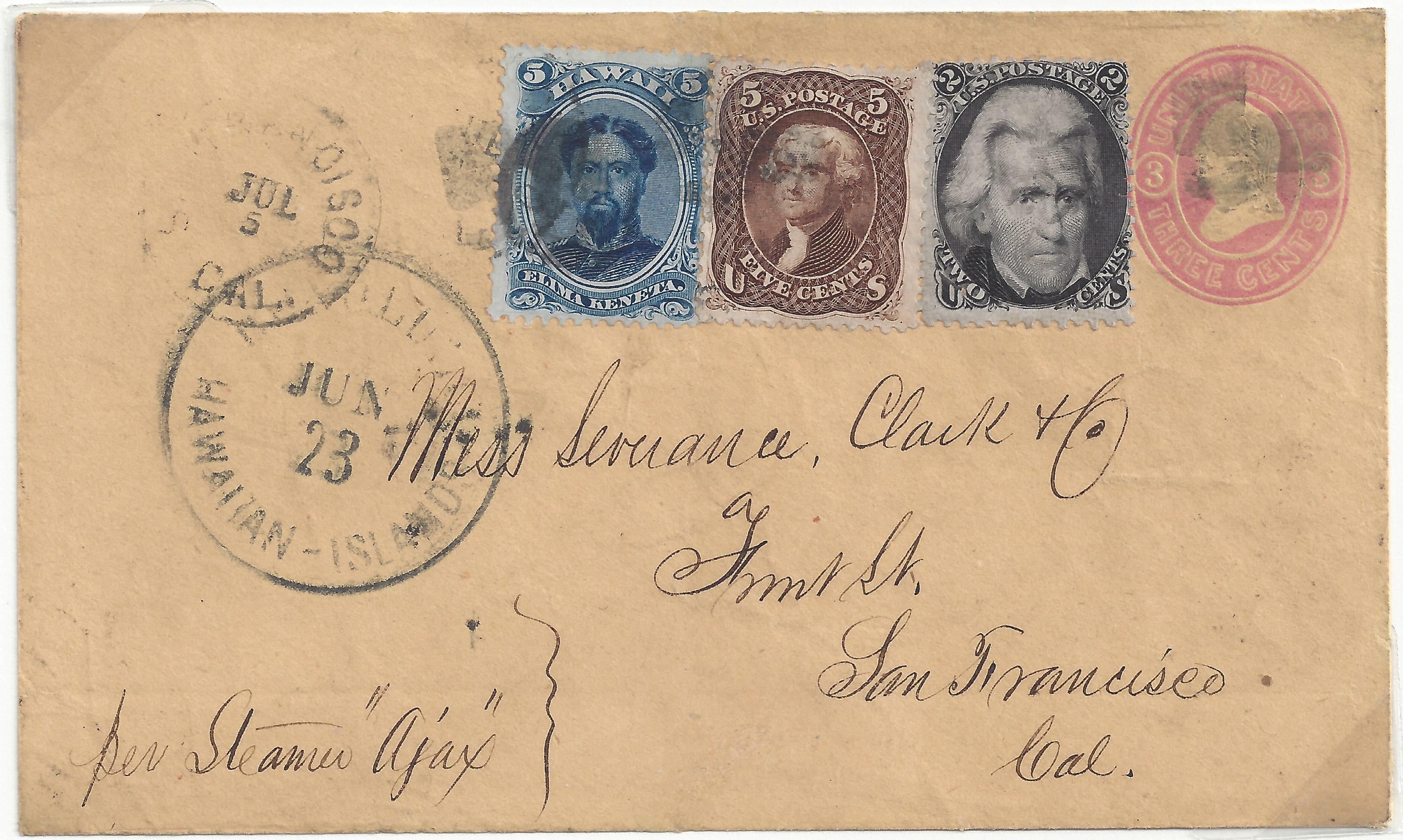Suburban 20140707 5 026B Jun 23 1870 Honolulu, 10c Rate, Jul 5 1870 SF Ds (U58 73 76)