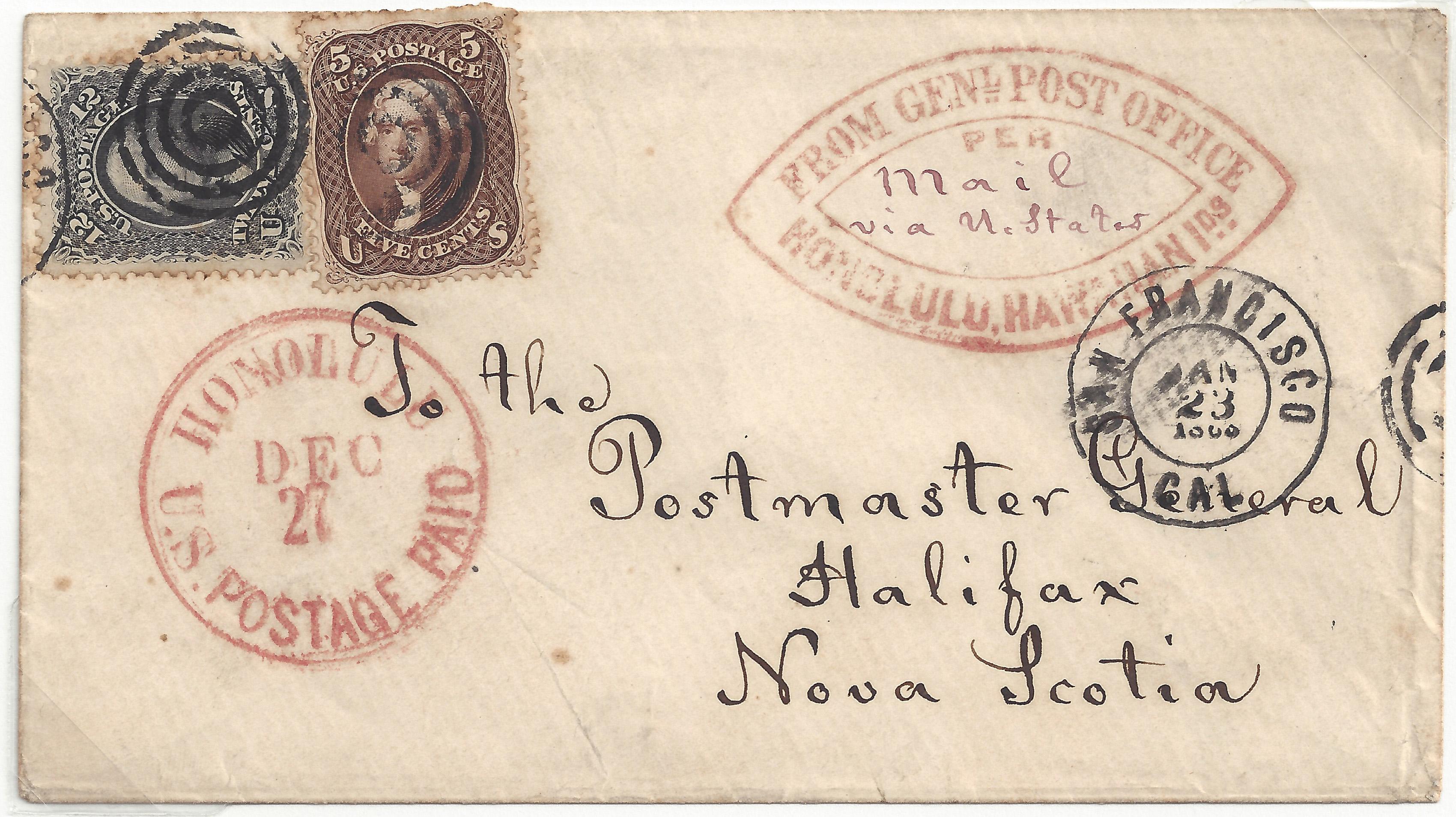 Suburban 20141115 5 024B Honolulu Dec 27 1864 General Post Offfice Honolulu Hs (69 76)