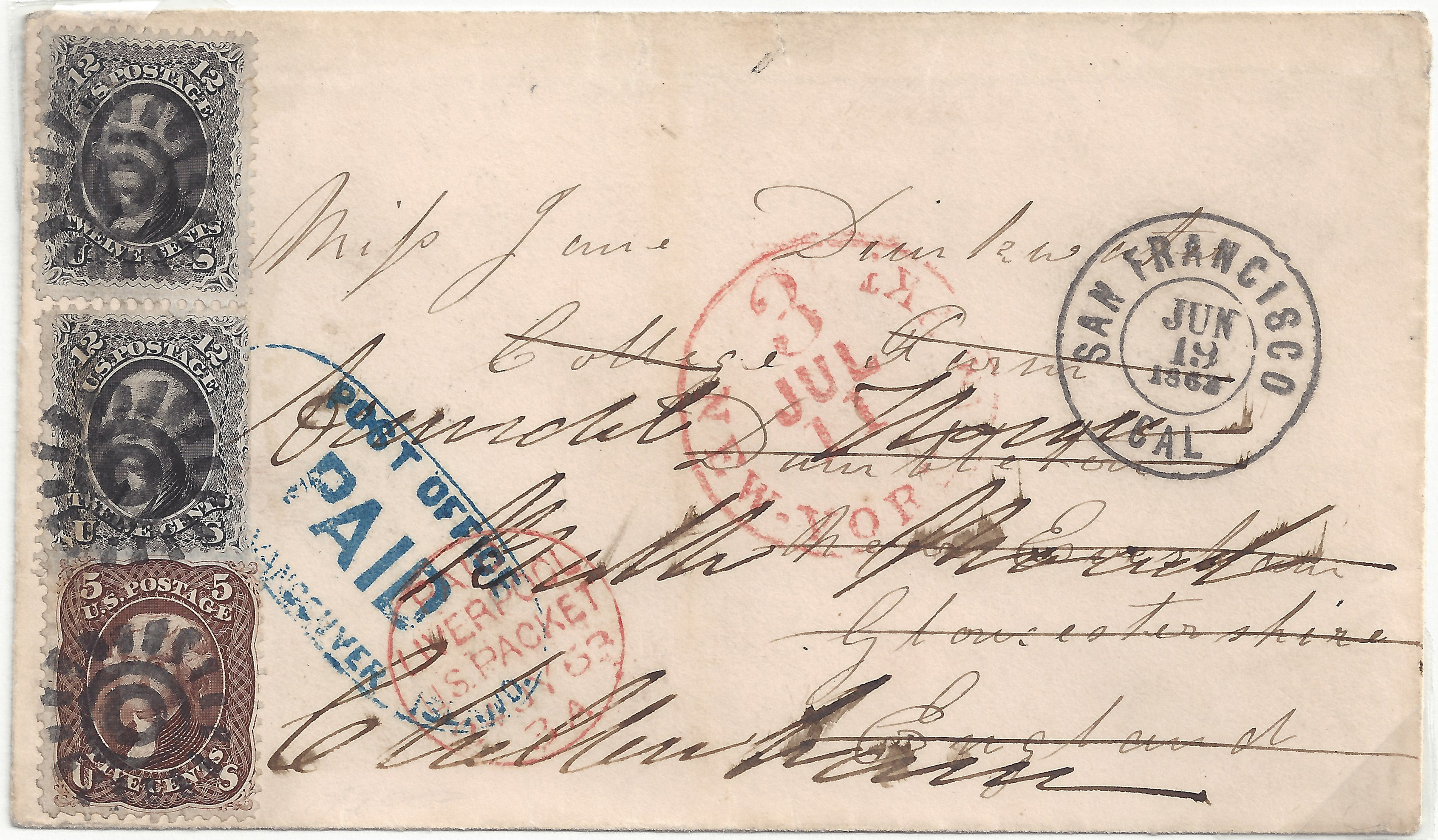 Suburban 20150304 5 033B 29c Rate From VI To England Post Office PAID Vancouver Hs (69x2 76)