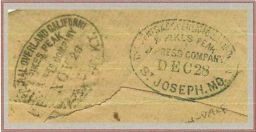 Central Overland California & Pike's Peak Express Company Handstamps