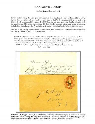 Kansas Territory - Letter from Cherry Creek
