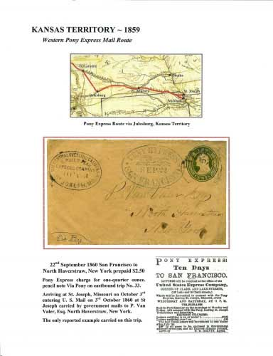 Kansas Territory ~ 1859 - Western Pony Express Mail Route
