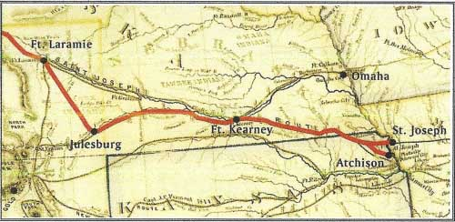 Pony Express Route via Julesburg, Kansas Territory