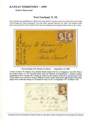 Kansas Territory – 1859 - Fort Garland, N. M.