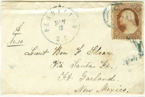 Incoming Letter from Pendleton, South Carolina to Lient. Ben F. Sloan via Santa Fe to Fort Garland, New Mexico