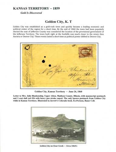 Kansas Territory - 1859 - Golden City, K. T.