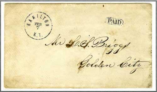 Hamilton, Kansas Territory ~ February 7, (1861) Unorganized Territory