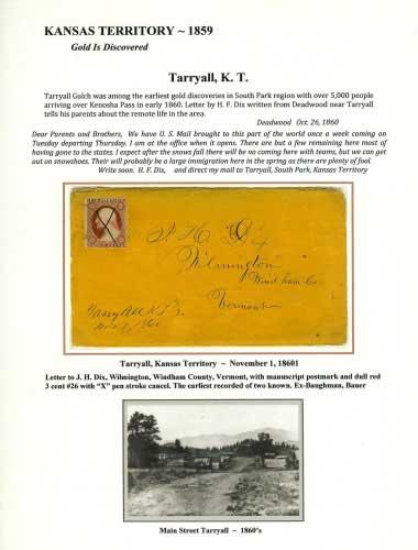 Kansas Territory - 1859 - Tarryall, K. T.