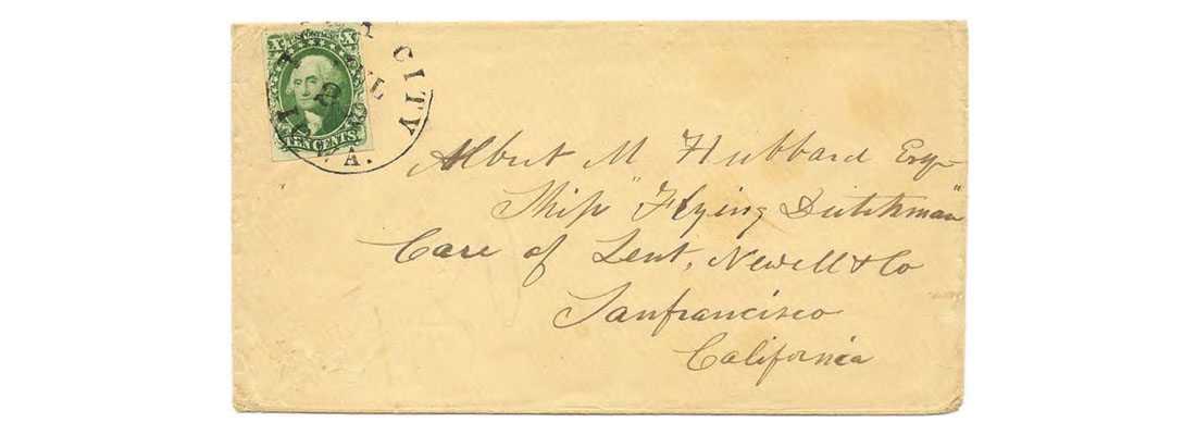 "Postmarked ""Iowa City, Iowa. Jul 28"" (1856 or 1857) to the Ship ""Flying Dutchman"" in San Francisco."