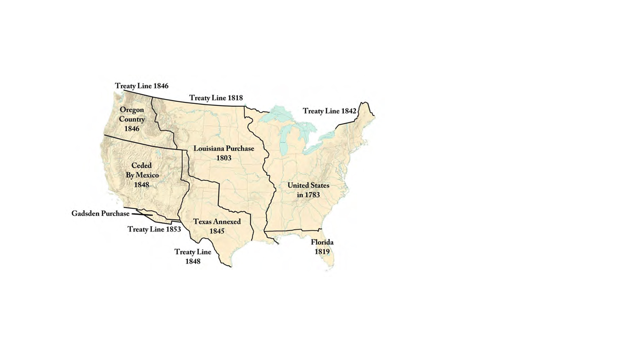 Map of the United States showing acquired territories.