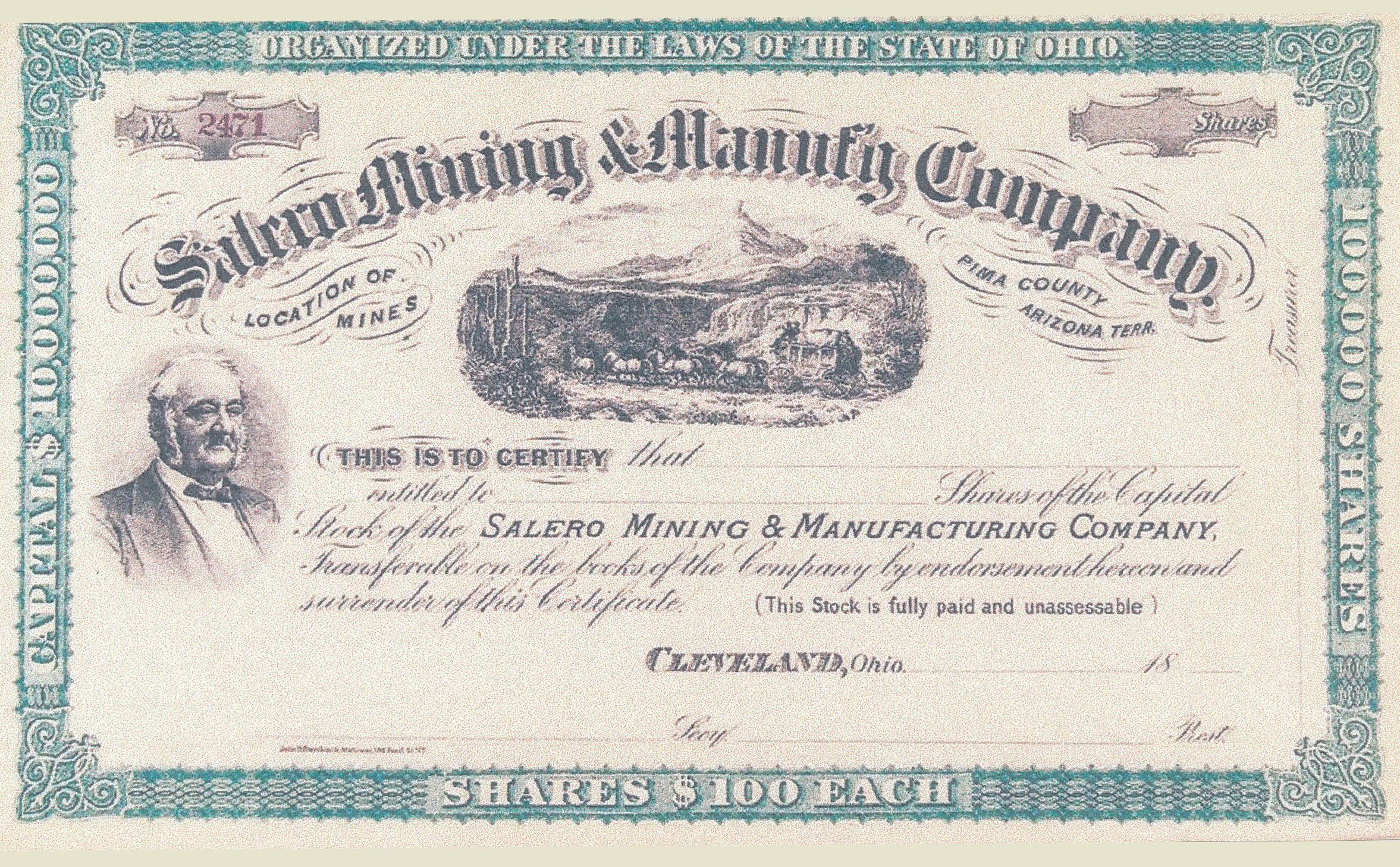 0016 Stock Certificate Salero Mining T