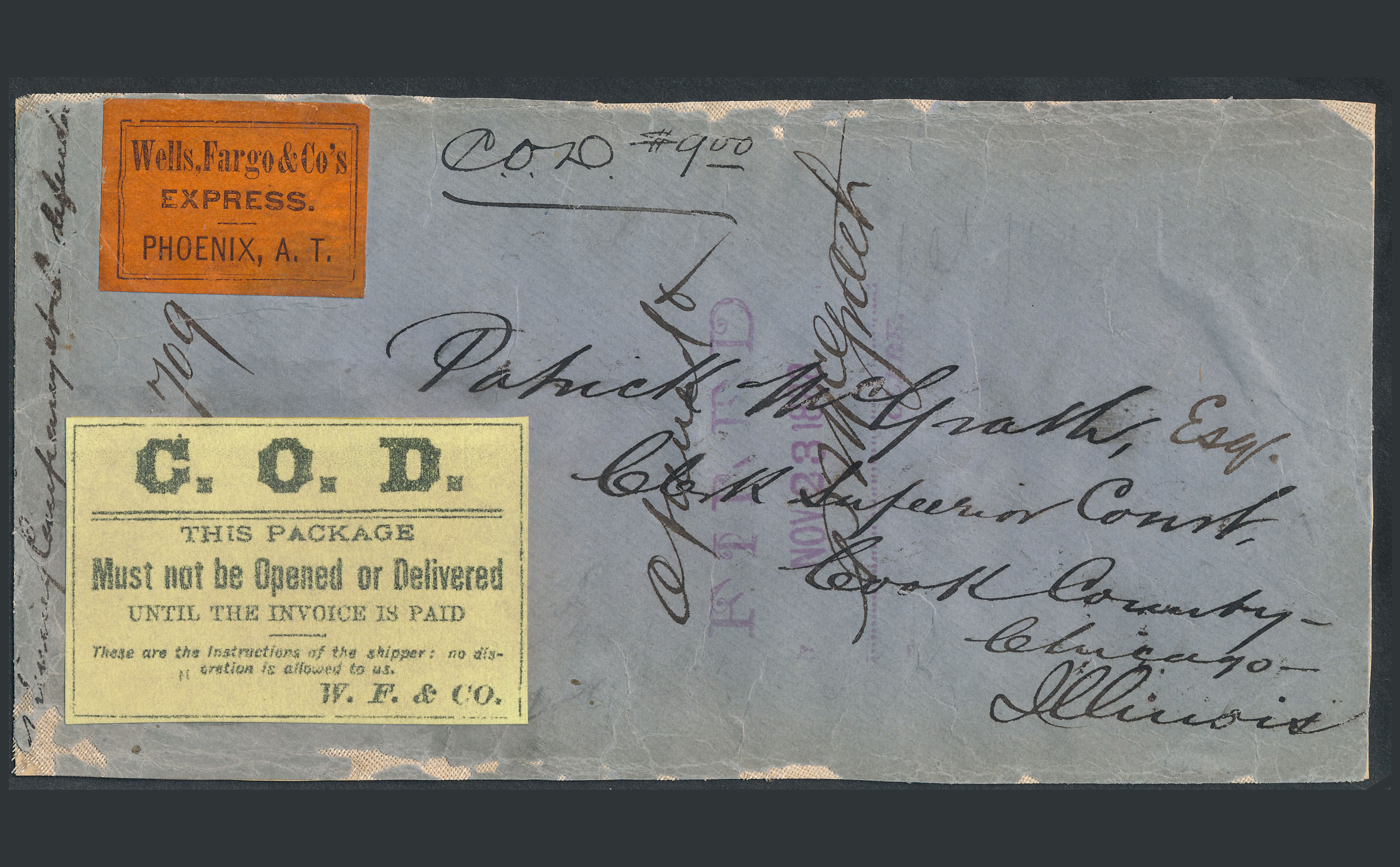 0039 Cover Wells Fargo Label COD Phoenix
