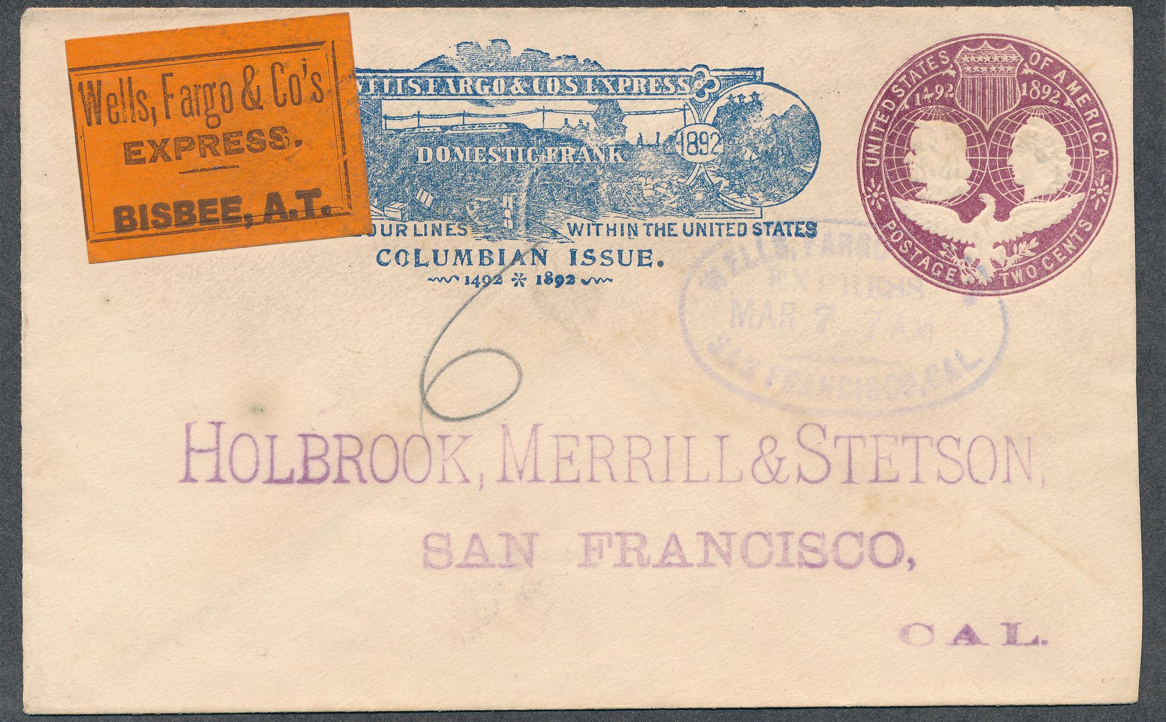 0074 Cover Wells Fargo Bisbee With Label