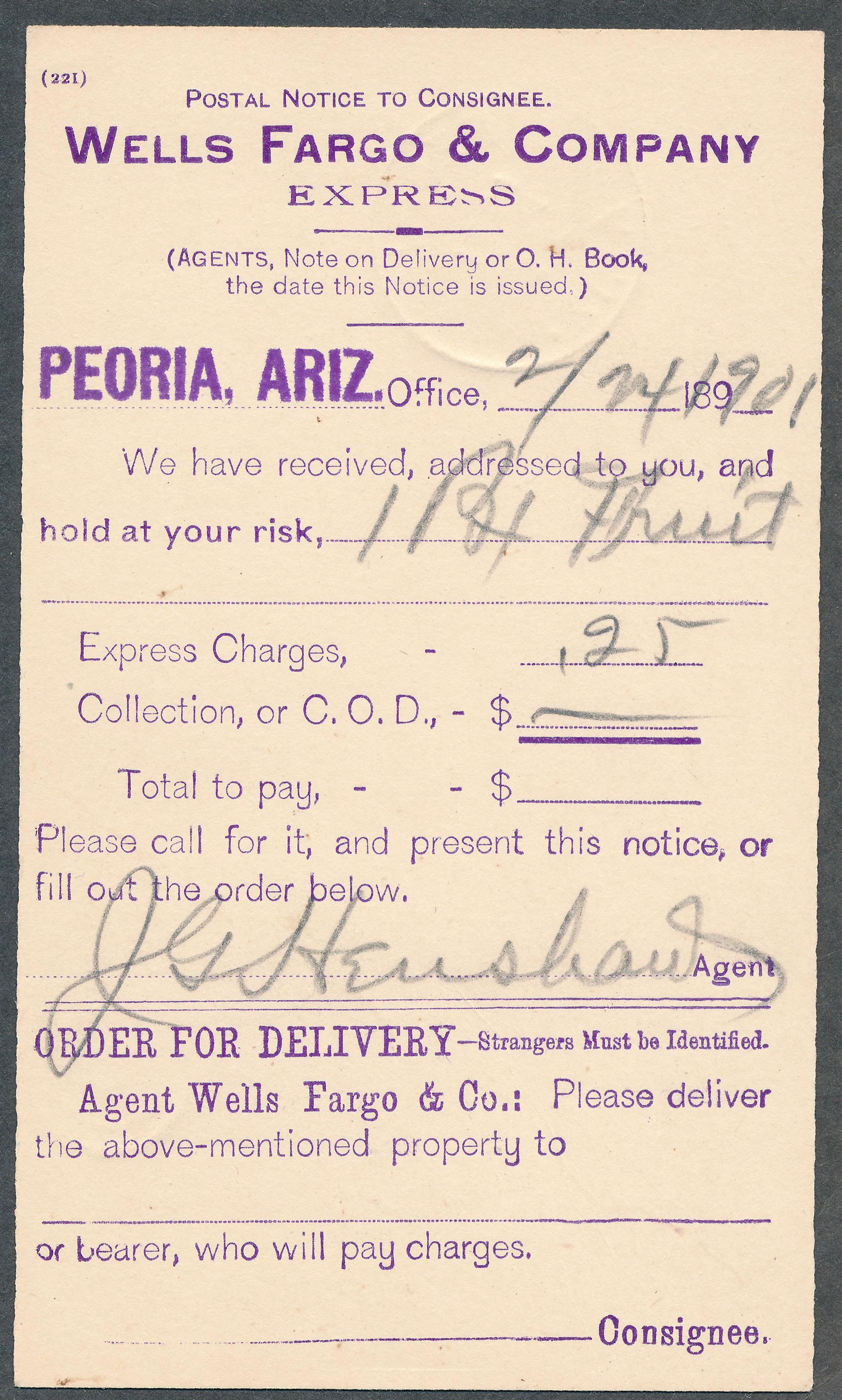 0076 2 Items Yuma WF Label Peoria Postal Notice B