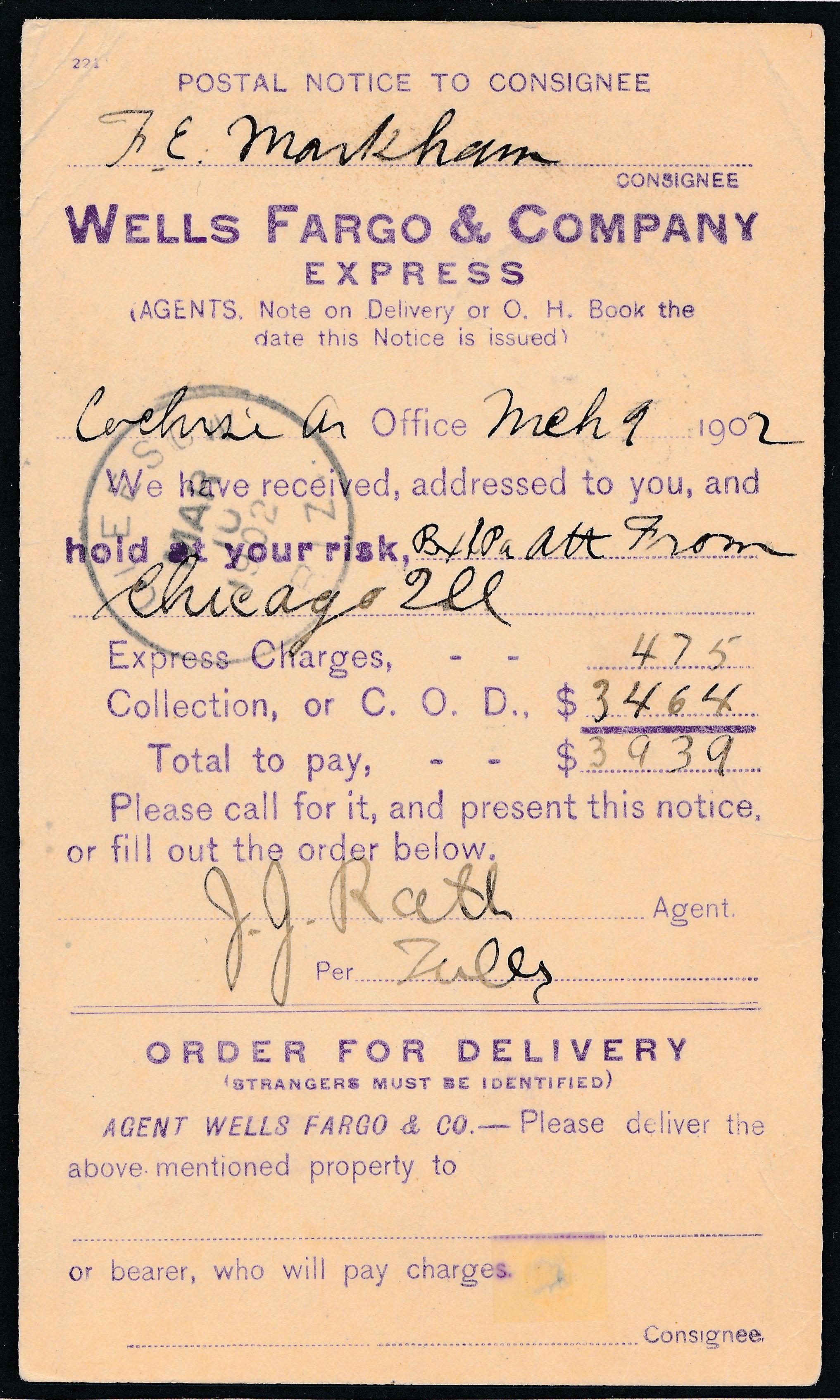 0081 Postal Card Notice Wells Fargo Cochise T