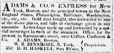 Earliest Adams & Co.'s west coast ad, Nov 8, 1849 San Francisco Weekly Alta California