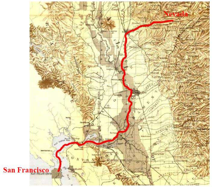 Map of Route from San Francisco to Nevada