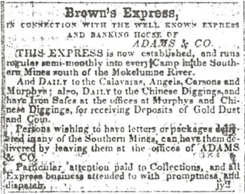 The first Brown's Express ad in the July 2, 1852