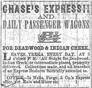 Jan 29, 1860 Yreka Journal ad for Chase's Express.