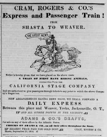 Cram, Rogers & Co.'s Express and Passenger Train from Shasta to Weaver