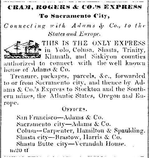 Cram, Rogers & Co.'s Express To Sacramento City.