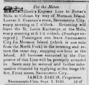 Earliest ad for Birch's Express Line, from the Sep 8, 1849 Sacramento City Placer Times