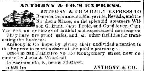 Earliest Anthony's ad, from the San Francisco Daily Alta California of Mar 28, 1853