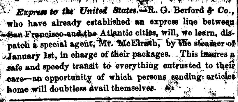 Earliest Berford's reference, Dec 26, 1849 article in the San Francisco Daily Alta California.