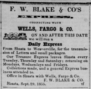 Earliest F. W. Blake & Co.'s Express ad, from the Sept 29, 1855 Shasta Courier