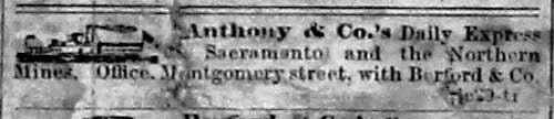 Latest Anthony's ad, from the San Francisco Sun of Aug 26, 1853.