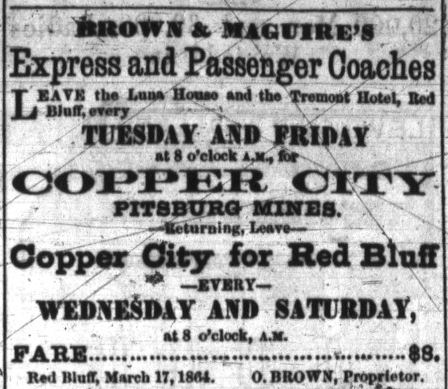 Mar 17, 1864 and Mar 24, 1864 ads for Brown & Maguire's Express from the Red Bluff Independent