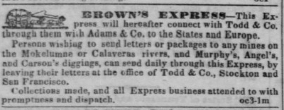 Oct 4, 1851 advertisement for Brown's Express from the San Francisco Daily Alta California