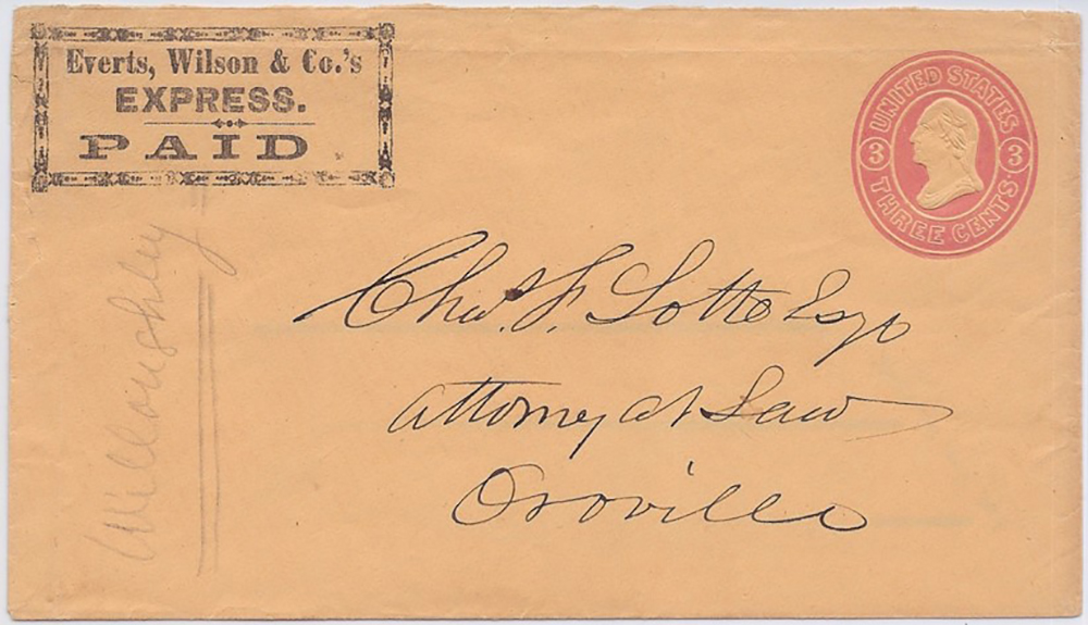 By Everts, Wilson & Co.'s Express. PAID. to Oroville