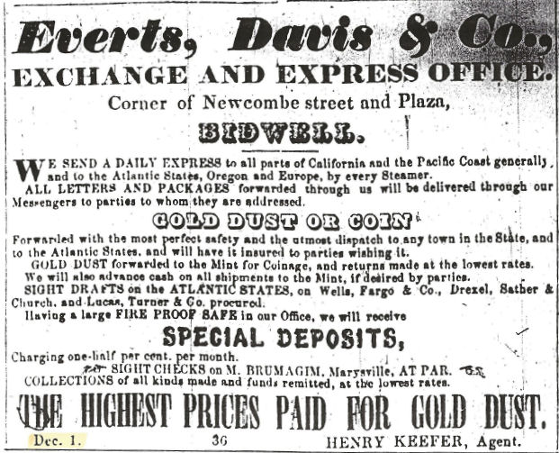 First Everts, Davis & Co. ad in the Oroville Butte Record