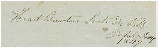 Head Quarters Santa Fe, N. M. October15, 1847