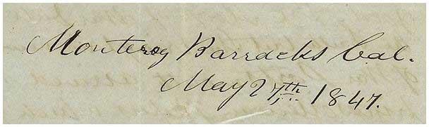 Monterey Barracks, California ~ May 27, 1847