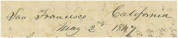 San Francisco California May 2, 1847