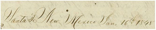 Santa Fe New Mexico January 16, 1848