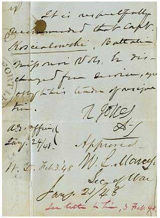 Signed W. L. Marcy Secretary of War January 21, 1848
