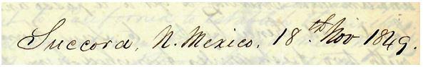 Succora, N. Mexico 18th Nov 1849