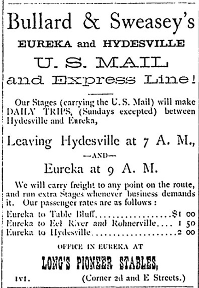 Bullard and Sweasey's Eureka and Hydesville US Mail and Express Line 1873