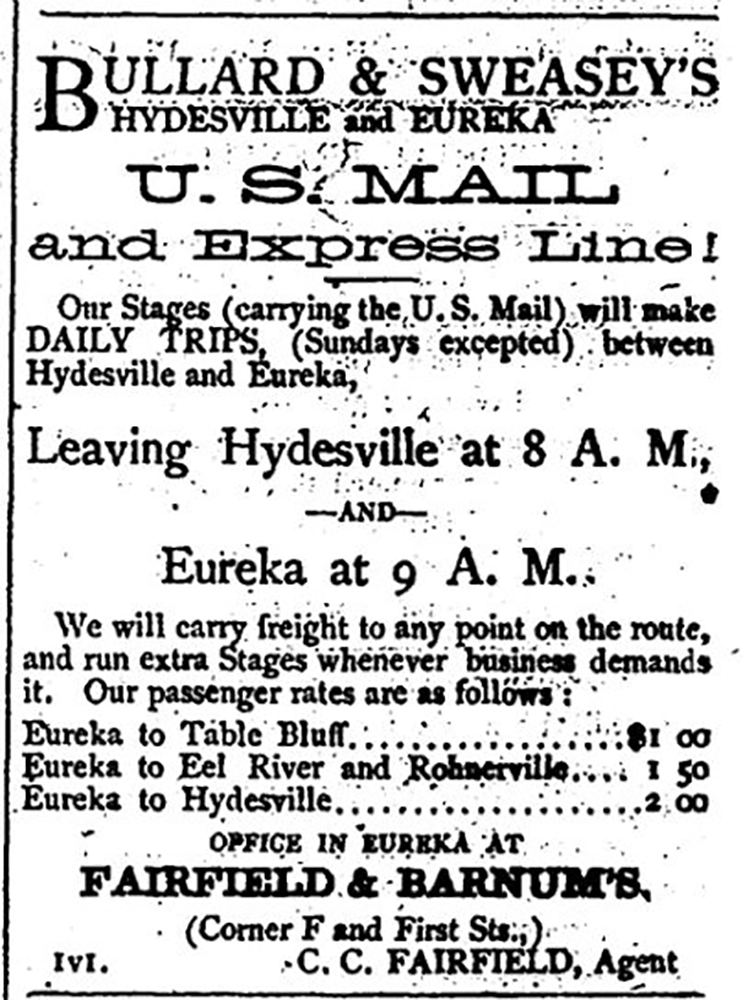 Bullard and Sweasey's Eureka and Hydesville US Mail and Express Line 1871